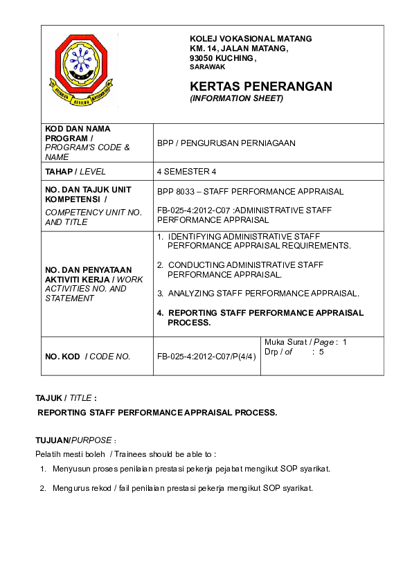 Doc Kertas Penerangan K4 802 Administrative Staff Performance Doc
