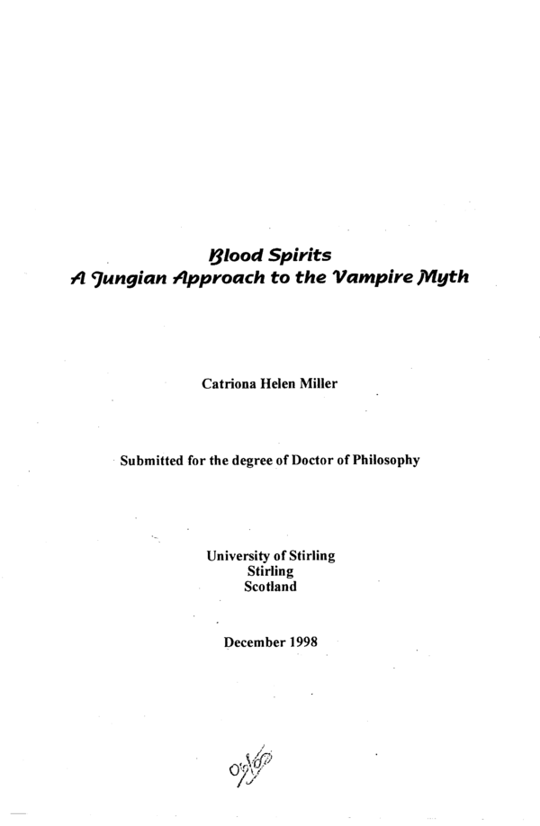 PDF) Blood Spirits: A Jungian Approach to the Vampire Myth