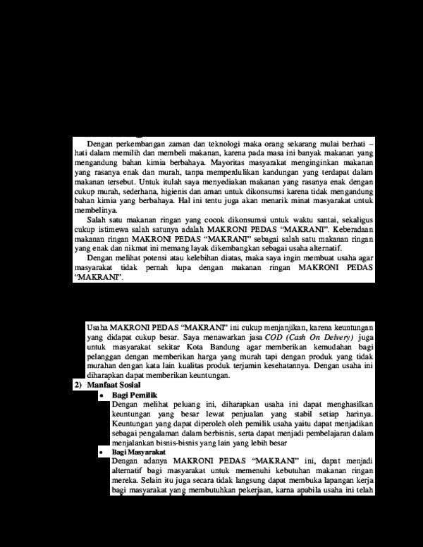 Doc Makalah Makroni Pedas Makrani 1 Lira Andriani Academia Edu