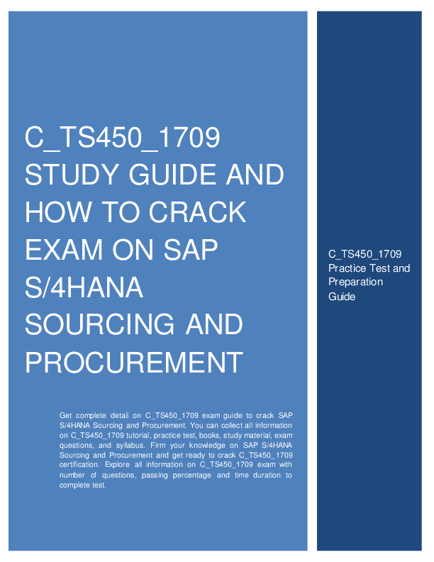 PDF) C_TS450_1709 STUDY GUIDE AND HOW TO CRACK EXAM ON SAP S