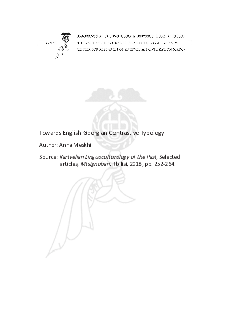 PDF) Towards English-Georgian Contrastive Typology.pdf | Anna ...