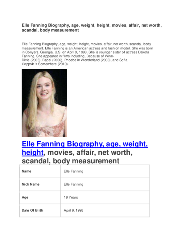 PDF) Elle Fanning Biography age weight height movies affair
