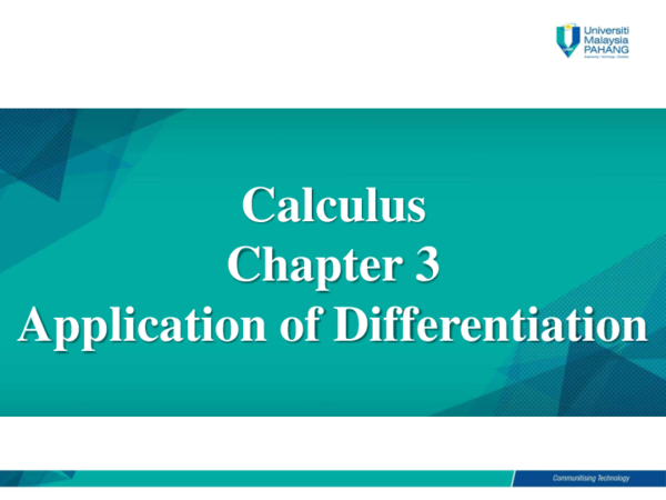 PDF) Calculus Chapter 3 Application of Differentiation