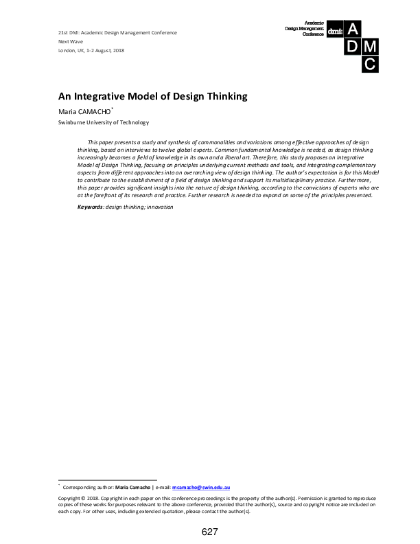 Pdf An Integrative Model Of Design Thinking Maria Camacho Academia Edu