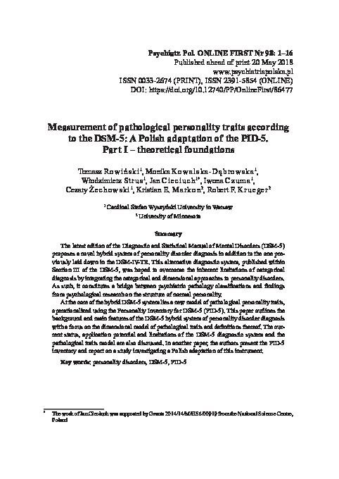 PDF) Measurement of pathological personality traits