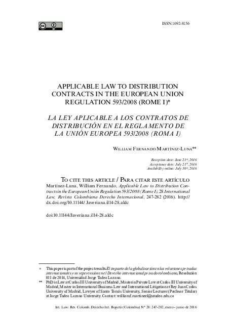PDF) APPLICABLE LAW TO DISTRIBUTION CONTRACTS IN THE