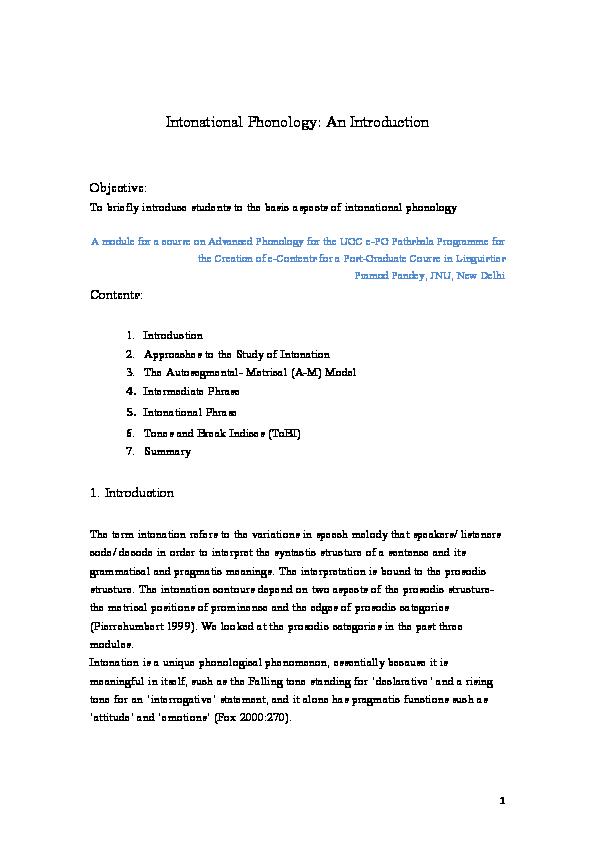 PDF) Intonational Phonology | Pramod Pandey - Academia edu