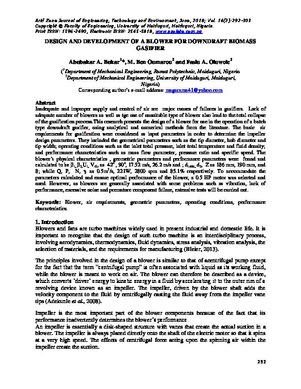 PDF) DESIGN AND DEVELOPMENT OF A BLOWER FOR DOWNDRAFT BIOMASS