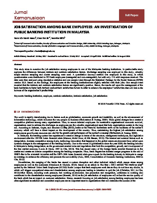 PDF) JOB SATISFACTION AMONG BANK EMPLOYEES: AN INVESTIGATION OF