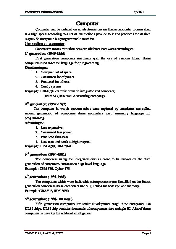 PDF) CP UNIT 1 | cse akrg - Academia edu