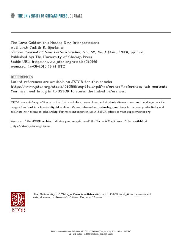 PDF) Larsa Goldsmith's Hoards.pdf   Judy Bjorkman - Academia.edu