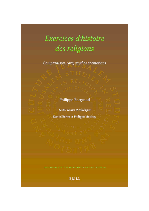 Borgeaud Philippe Exercices Dhistoire Des Religions