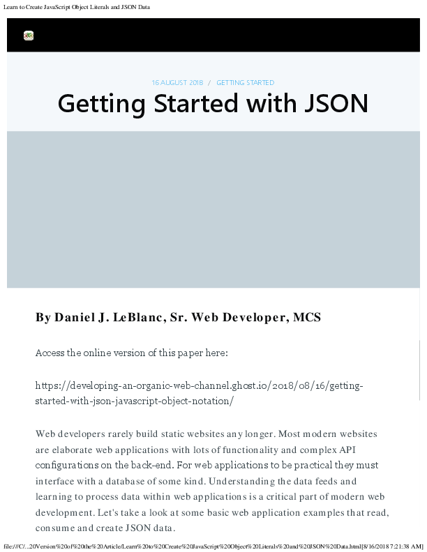 PDF) Learn to Create JavaScript Object Literals and JSON