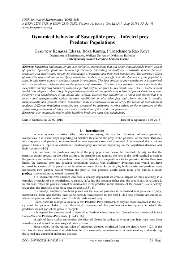 PDF) Dynamical behavior of Susceptible prey – Infected prey
