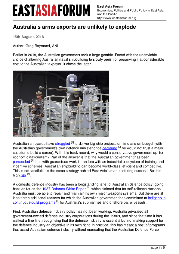 PDF) Australia's arms exports are unlikely to explode