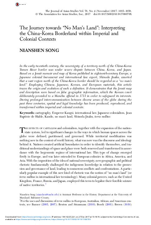 "PDF) The Journey towards ""No Man's Land"": Interpreting the"