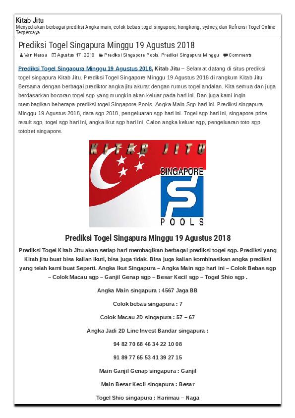 PDF) Prediksi Togel Singapura Minggu 19 Agustus 2018