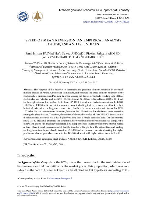 PDF) Speed of Mean Reversion: An Empirical analysis of KSE