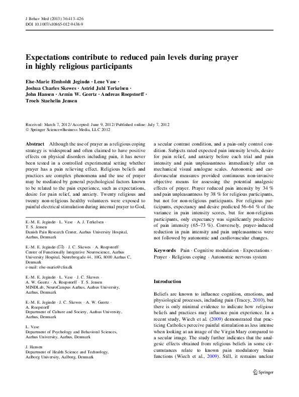 PDF) Expectations contribute to reduced pain levels during prayer in