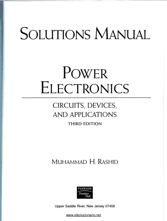 PDF) SOLUTIONS MANUAL POWER ELECTRONICS CIRCUITS, DEVICES