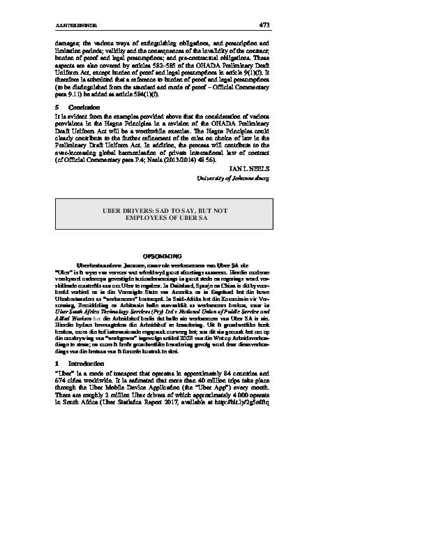 PDF) UBER DRIVERS: SAD TO SAY, BUT NOT EMPLOYEES OF UBER SA