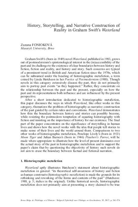 Pdf History Storytelling And Narrative Construction Of Reality In Graham Swift S Waterland Zuzana Foniokova Academia Edu