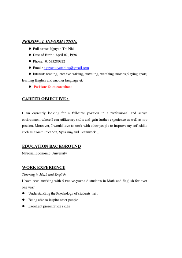 PDF) PERSONAL INFORMATION  CAREER OBJECTIVE | HR Bánh Bakery