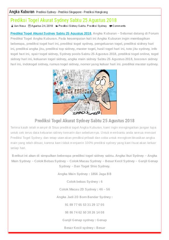 PDF) Prediksi Togel Akurat Sydney Sabtu 25 Agustus 2018 | manalu