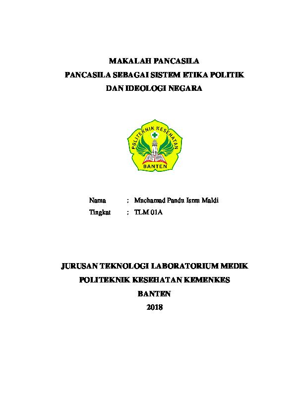 Pdf Makalah Pancasila Pancasila Sebagai Sistem Etika Politik Dan Ideologi Negara Yolan Aulia Academia Edu