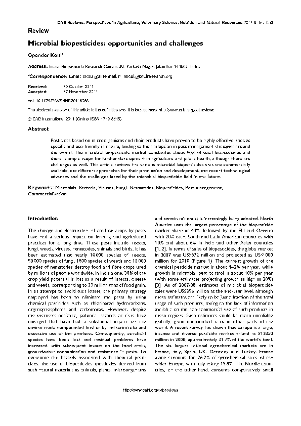 Microbial Biopesticides