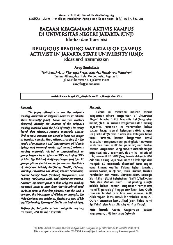 PDF) RELIGIOUS READING MATERIALS OF CAMPUS ACTIVIST IN