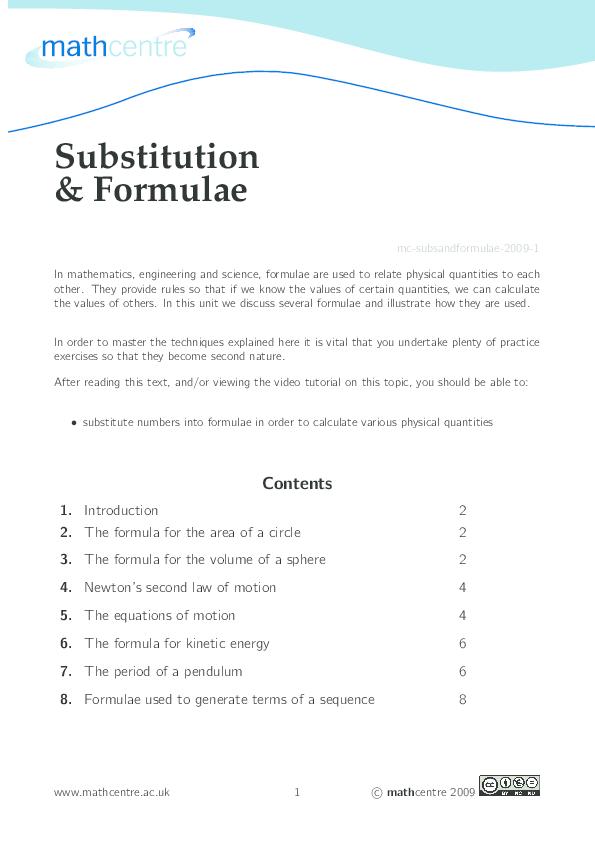 PDF) Substitution & Formulae | ak47 Loki - Academia edu