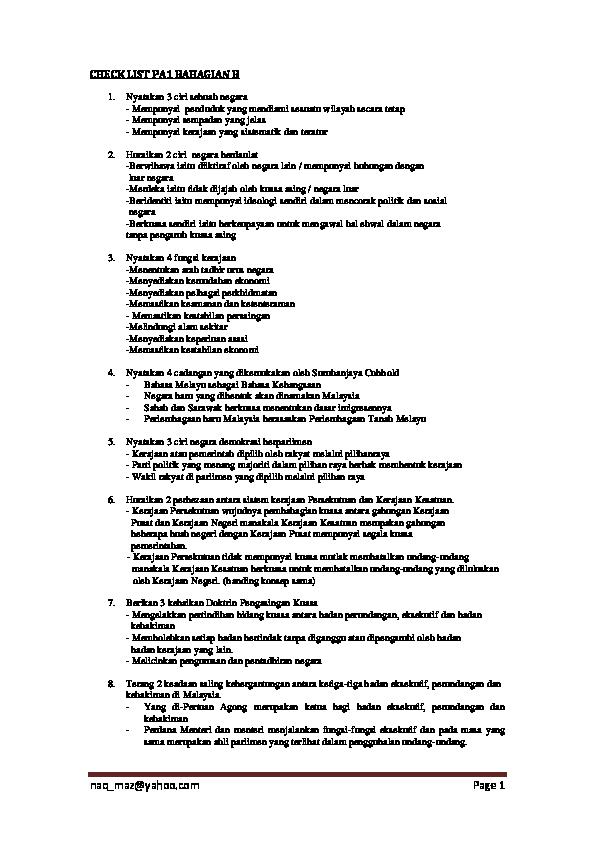 Pdf Check List Pa1 Bahagian B Atiqah Aqilah1 Academia Edu