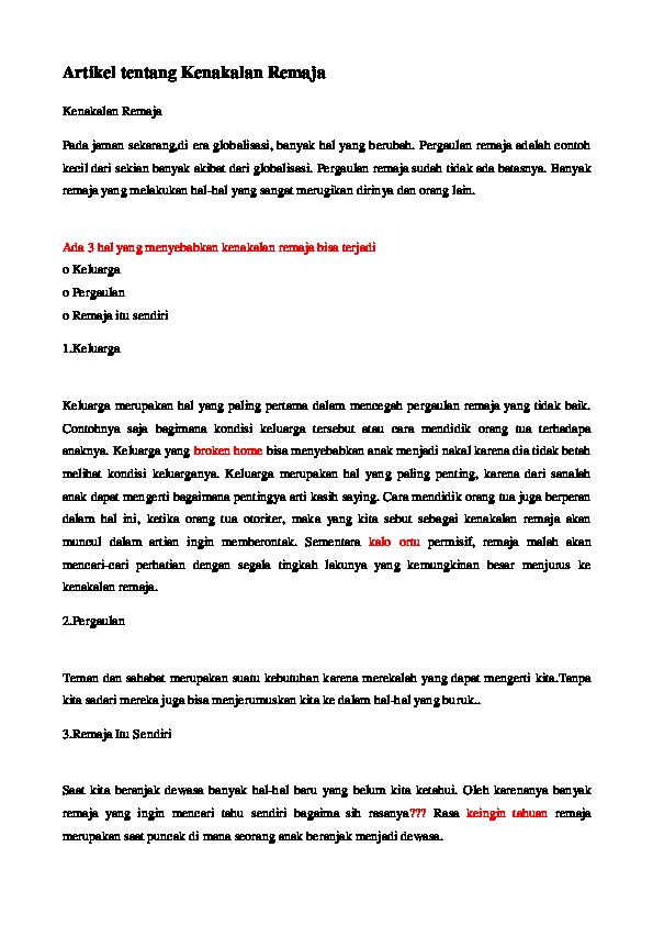 Doc Artikel Tentang Kenakalan Remaja Eka Sarastini Academia Edu
