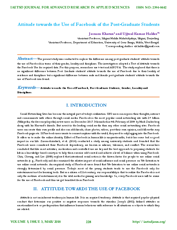 PDF) Attitude towards the Use of Facebook of the Post