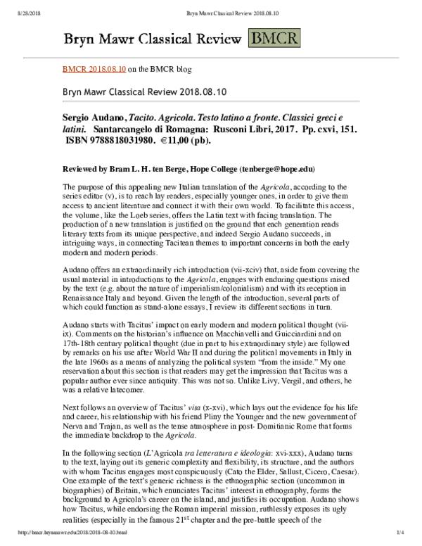 Bmcr Ten Berge On Audano 2017 Bram L H Ten Berge Academiaedu