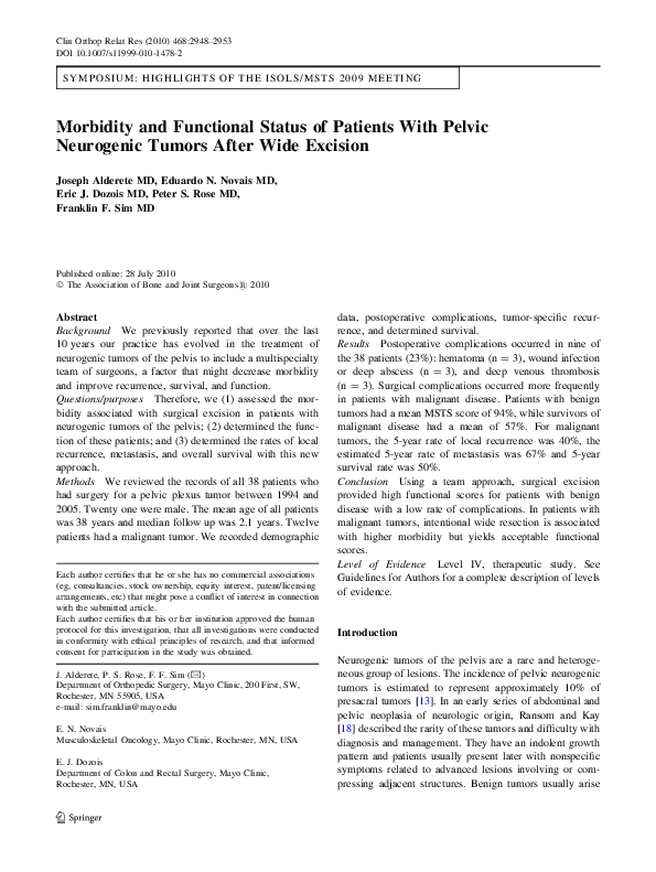 PDF) Morbidity and Functional Status of Patients With Pelvic