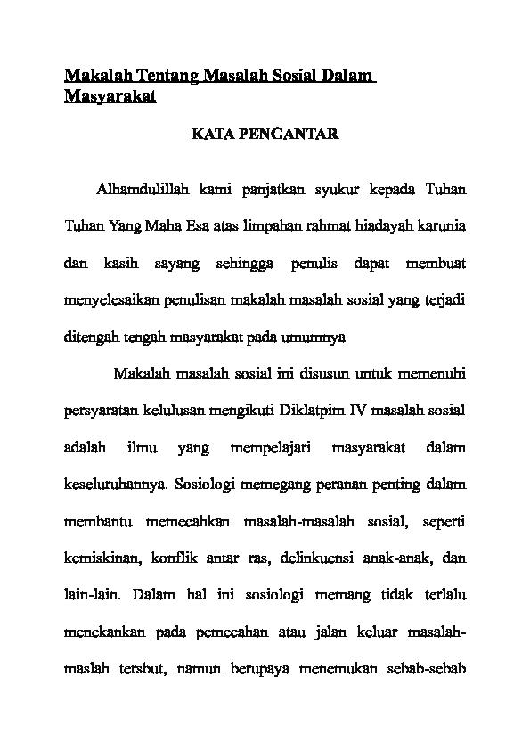 Doc Makalah Tentang Masalah Sosial Dalam Masyarakat Ali Masykuri Academia Edu