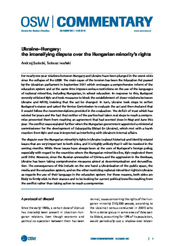 PDF) Andrzej Sadecki, Tadeusz Iwański: Ukraine–Hungary: the
