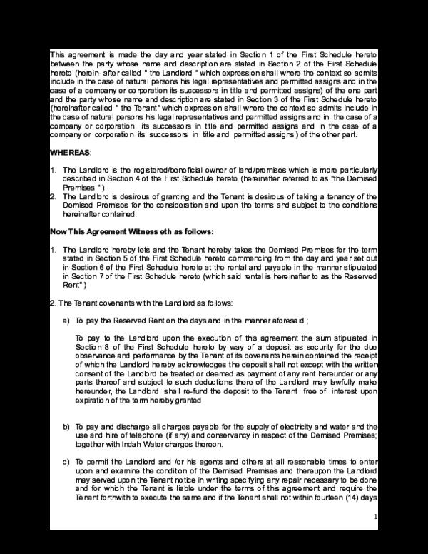 Doc Rent Agreement For Shoplot Perjanjian Sewa Kedai Nedy Elmayra Academia Edu