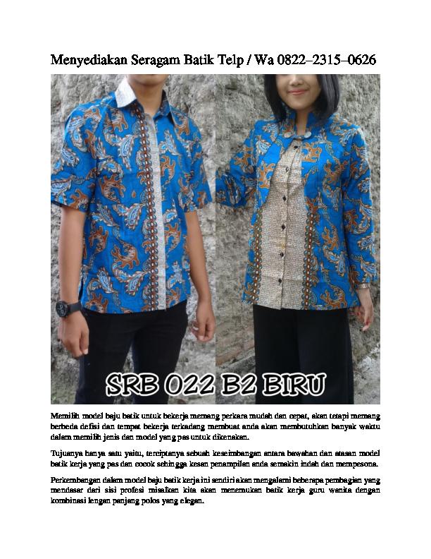 Pdf Jual Seragam Batik Nasional Pkk Telp Wa 0822 2315 0626