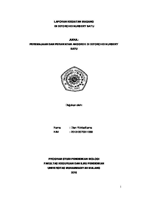 Pdf Laporan Dan Proposal Kegiatan Magang Anggrek Rizki Aditama Academia Edu