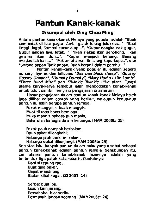 Contoh Pantun Kanak Kanak Muda Tua Pantun Kanakkanak Choo Ming Ding Academiaedu 1022