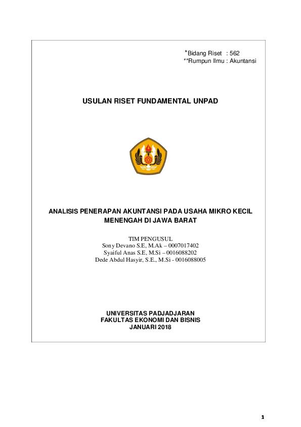 Doc Proposal Analisis Penerapan Akuntansi Umkm Syaiful Anas Academia Edu