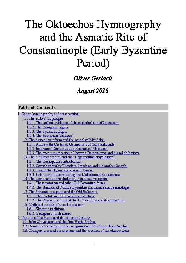 PDF) Workshop Byzantine Music (4): Oktoechos Hymnography and