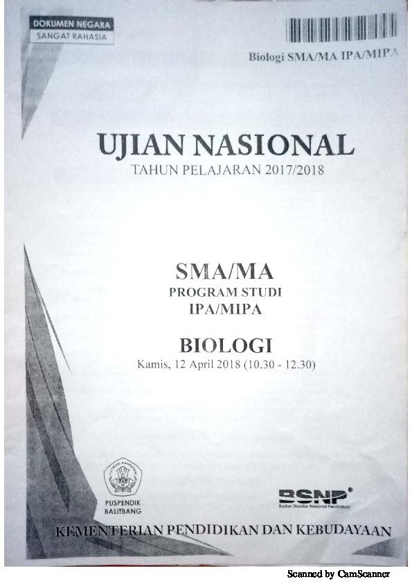 Pdf Soal Un Biologi Sma Tahun 2018 Suhadi Rembang Academia Edu