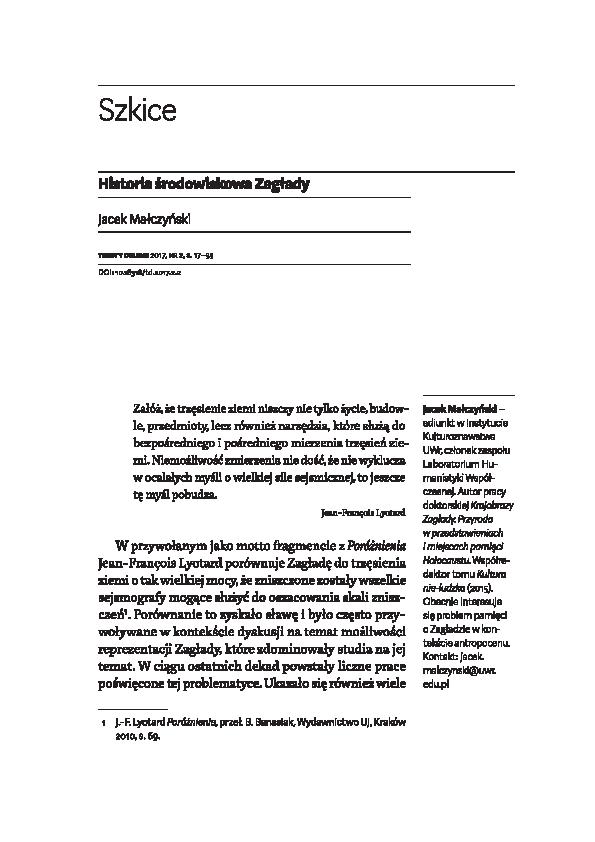 Pdf Historia środowiskowa Zagłady An Enviromental History