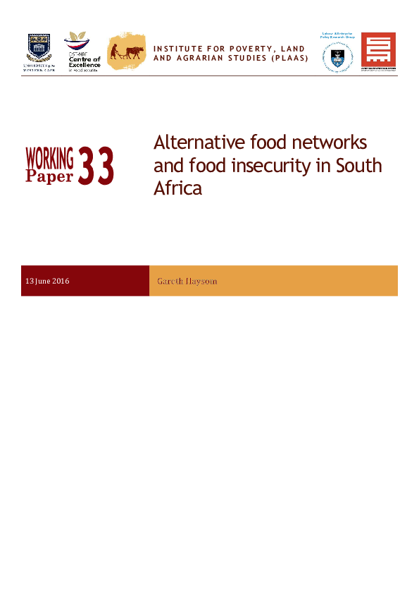 PDF) Alternative food networks and food insecurity in South Africa