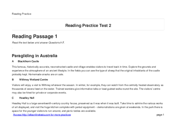PDF) Reading Passage 1 Paragliding in Australia A Blackthorn