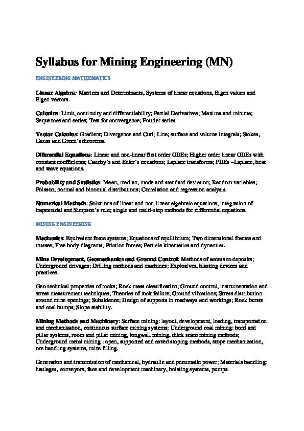 PDF) Syllabus for Mining Engineering (MN) Linear Algebra